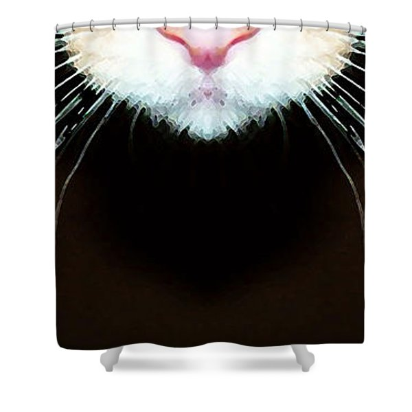 Cat Art - Super Whiskers Shower Curtain by Sharon Cummings