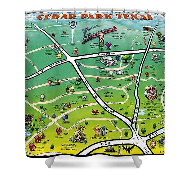 Cedar Park Texas Cartoon Map Shower Curtain by Kevin Middleton