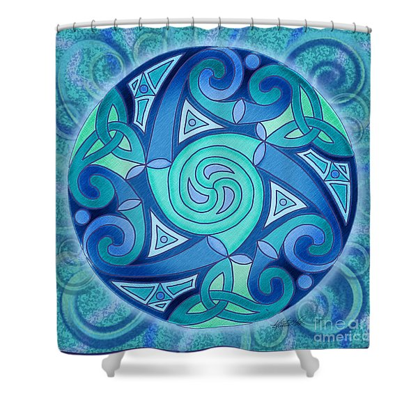 Celtic Planet Shower Curtain by Kristen Fox