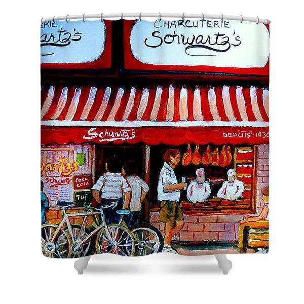 Charcuterie Schwartz's Deli Montreal Shower Curtain by Carole Spandau