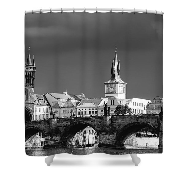 Charles Bridge Prague Czech Republic Shower Curtain by Matthias Hauser