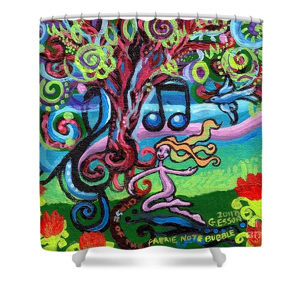 Chase Of The Faerie Note Bubble Shower Curtain by Genevieve Esson