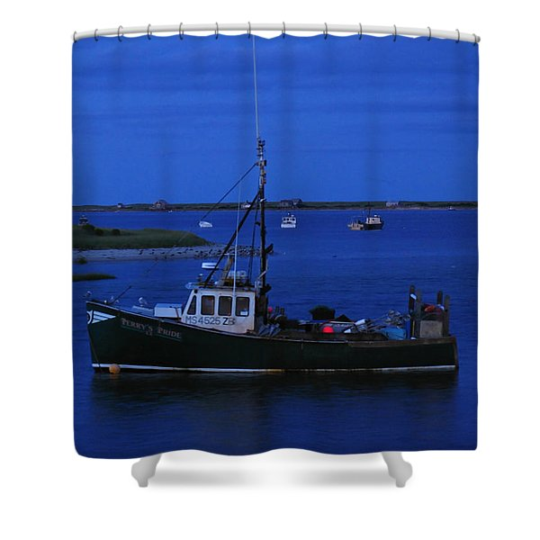 Chatham Pier Fisherman Boat  Shower Curtain by Juergen Roth