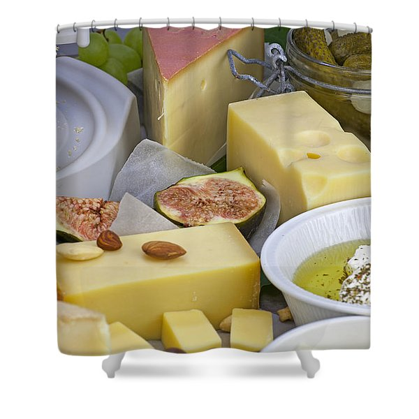 Cheese plate Shower Curtain by Joana Kruse