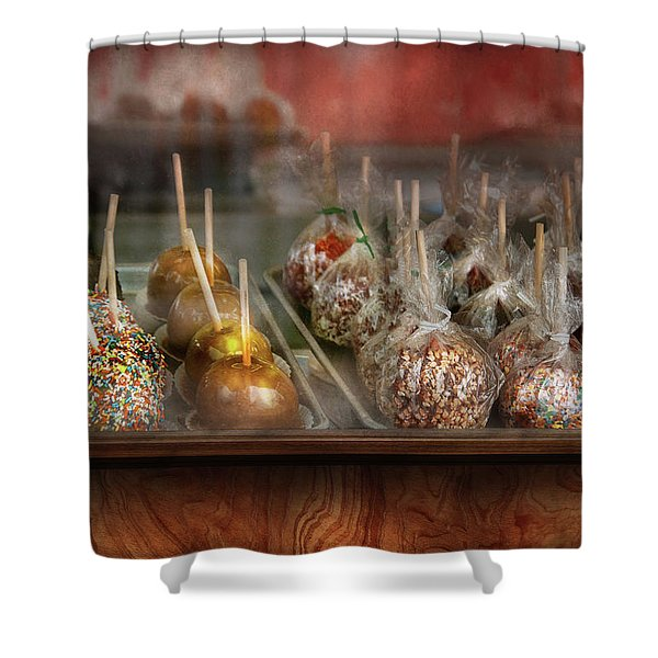 Chef - Caramel Apples For Sale Shower Curtain by Mike Savad
