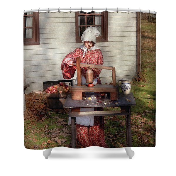 Chef - Coring Apples Shower Curtain by Mike Savad