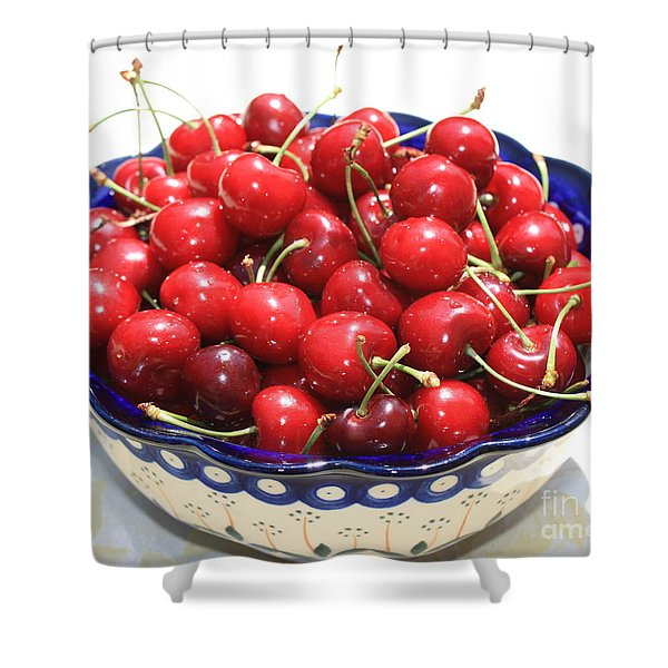 Cherries In Blue Bowl Shower Curtain by Carol Groenen