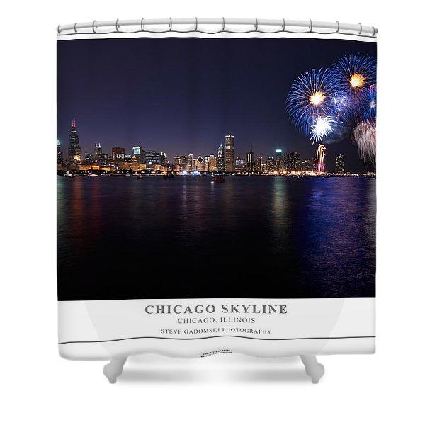 Chicago Lakefront Skyline Poster Shower Curtain by Steve Gadomski