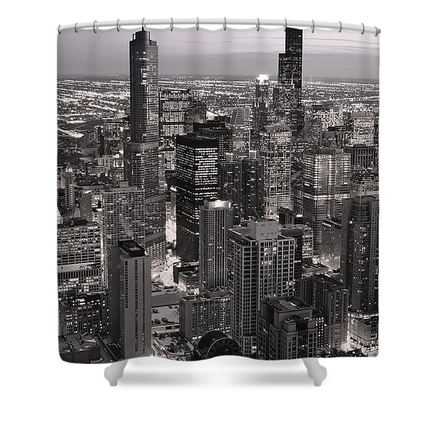 Chicago Loop Sundown B and W Shower Curtain by Steve Gadomski