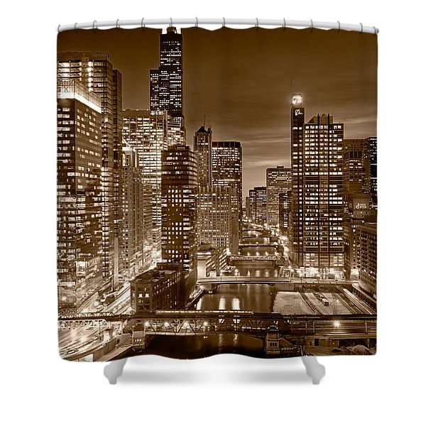 Chicago River City View B and W Shower Curtain by Steve gadomski