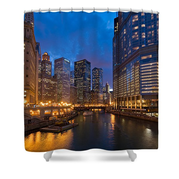 Chicago River Lights Shower Curtain by Steve Gadomski