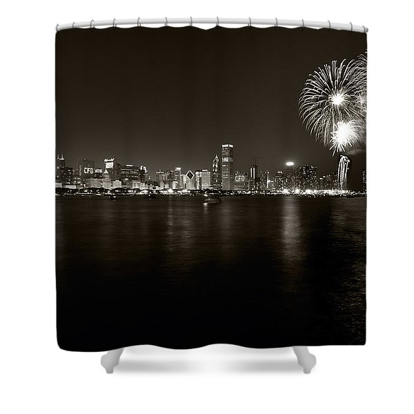 Chicago Skyline Fireworks BW Shower Curtain by Steve Gadomski