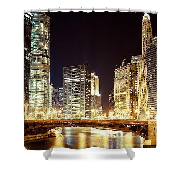 Chicago State Street Bridge at Night Shower Curtain by Paul Velgos