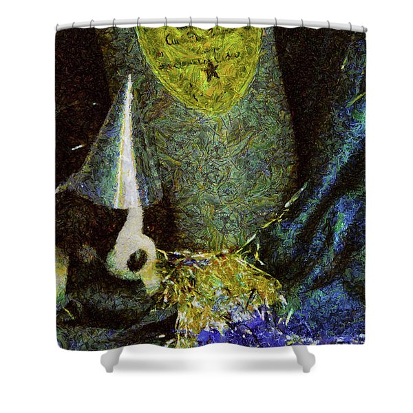 Children - Toys - Happy New Year Shower Curtain by Mike Savad