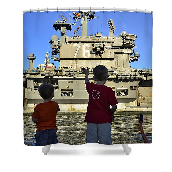 Children Wave As Uss Ronald Reagan Shower Curtain by Stocktrek Images