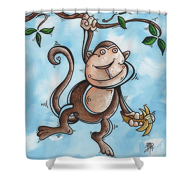 Childrens Whimsical Nursery Art Original Monkey Painting MONKEY BUTTONS by MADART Shower Curtain by Megan Duncanson