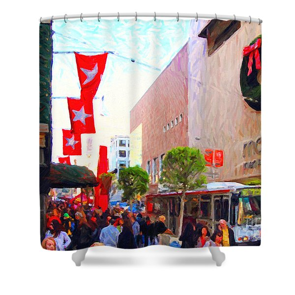 Christmas at Macys in San Francisco . Photoart Shower Curtain by Wingsdomain Art and Photography