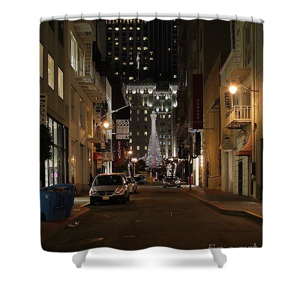 Christmas Eve 2009 on Maiden Lane Shower Curtain by Wingsdomain Art and Photography