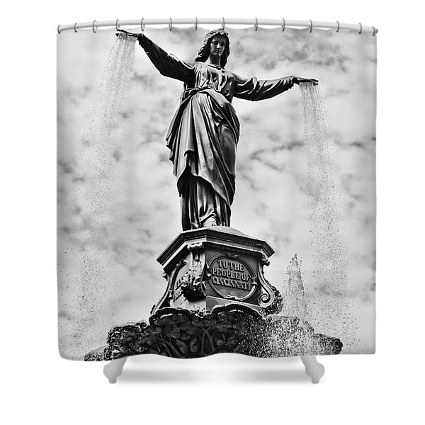 Cincinnati Fountain Tyler Davidson Genius of Water Statue Shower Curtain by Paul Velgos