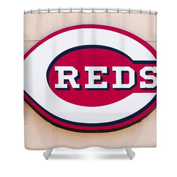 Cincinnati Reds Logo Sign Shower Curtain by Paul Velgos