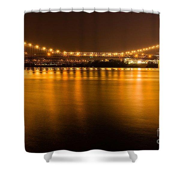 Cincinnati Roebling Bridge At Night Shower Curtain by Paul Velgos