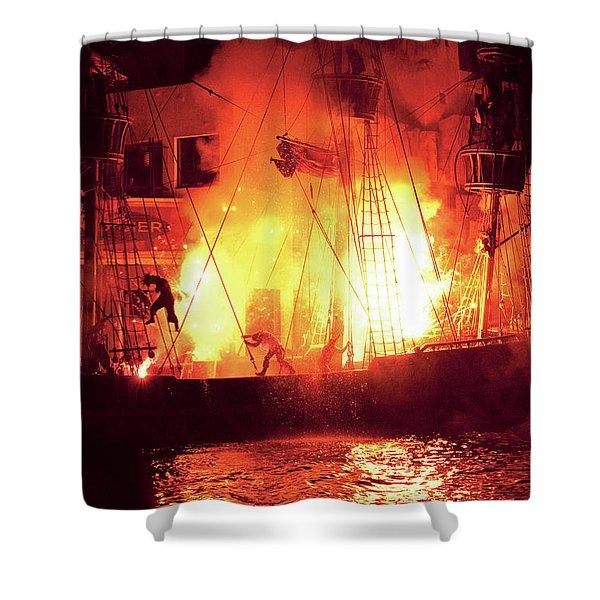 City - Vegas - Treasure Island - Explosion Abandon ship Shower Curtain by Mike Savad