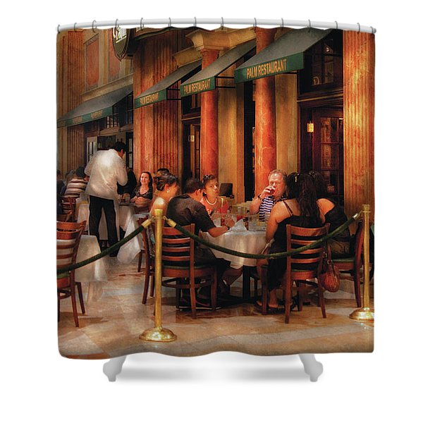 City - Venetian - Dining At The Palazzo Shower Curtain by Mike Savad