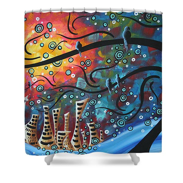 City by the Sea by MADART Shower Curtain by Megan Duncanson