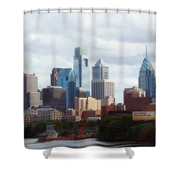 City Of Philadelphia Shower Curtain by Linda Sannuti