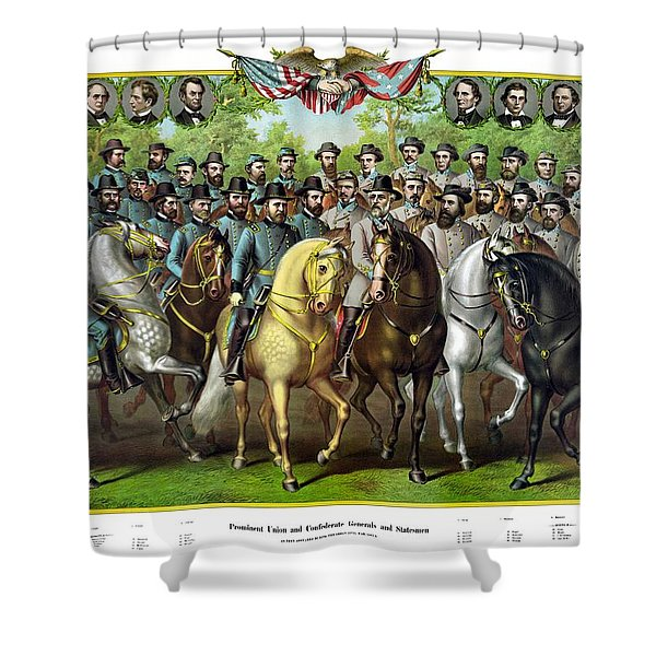 Civil War Generals and Statesman With Names Shower Curtain by War Is Hell Store