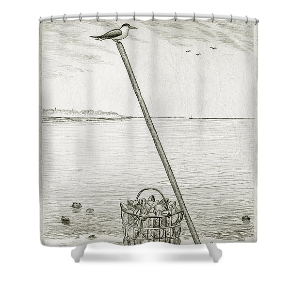 Clamming Shower Curtain by Charles Harden