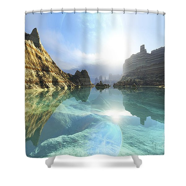 Clear Canyon River Waters Reflect Shower Curtain by Corey Ford