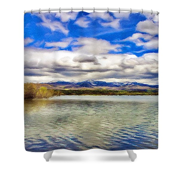 Clouds over Distant Mountains Shower Curtain by Jeff Kolker