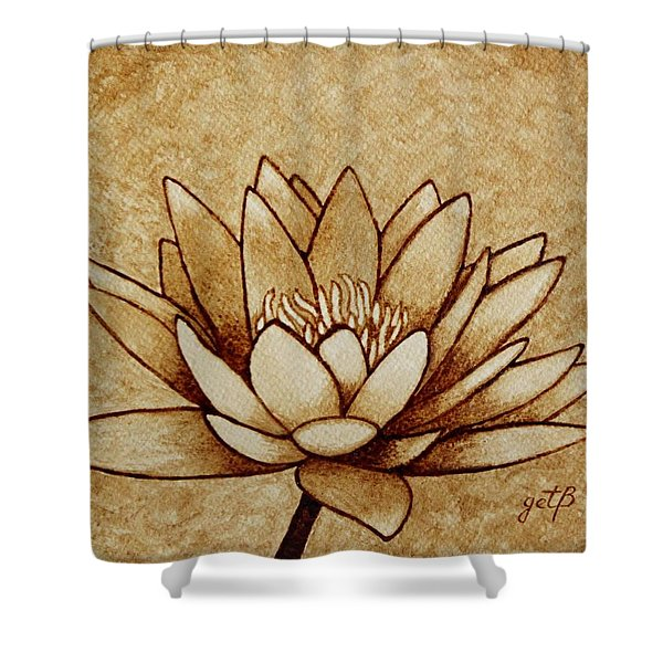 Coffee painting Water Lilly Blooming Shower Curtain by Georgeta  Blanaru