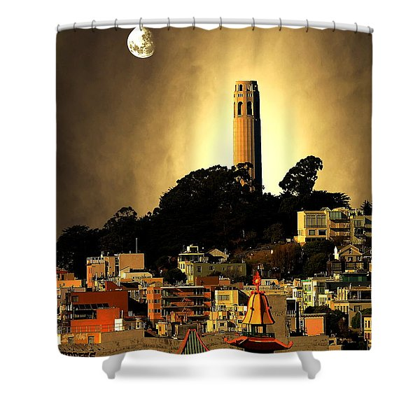 Coit Tower And The Empress Of China Under The Golden Moonlight Shower Curtain by Wingsdomain Art and Photography