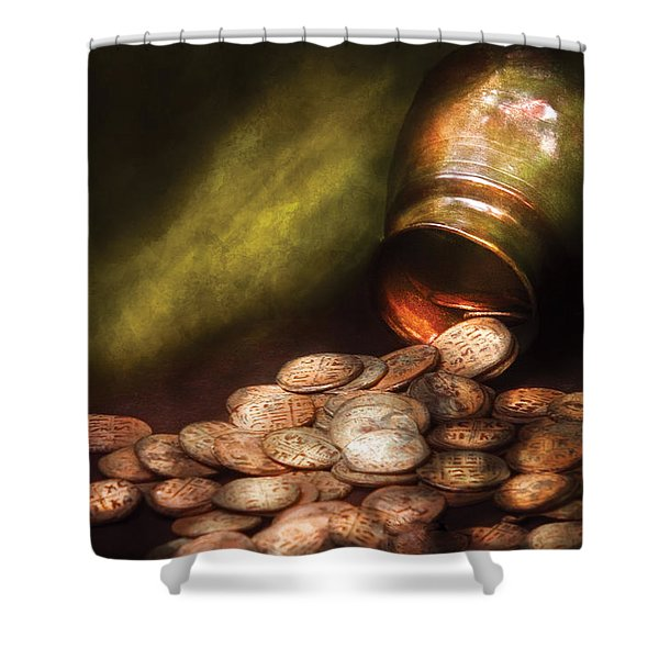 Collector - Coin - Treasure Quest Shower Curtain by Mike Savad