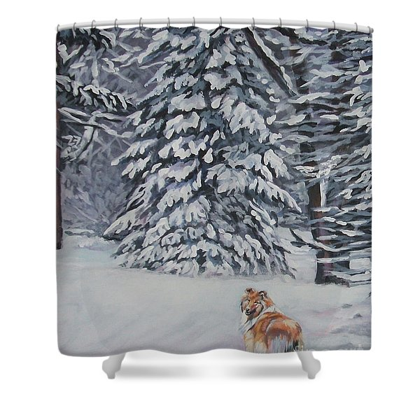 Collie sable Christmas tree Shower Curtain by L A Shepard