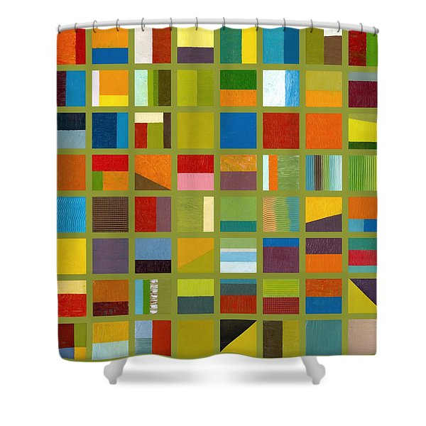 Color Study Collage 64 Shower Curtain by Michelle Calkins