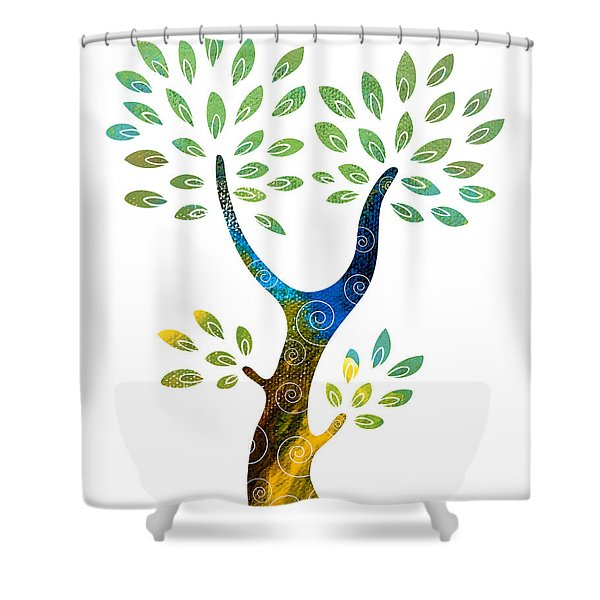 Shower Curtains - Color Tree Shower Curtain by Frank Tschakert