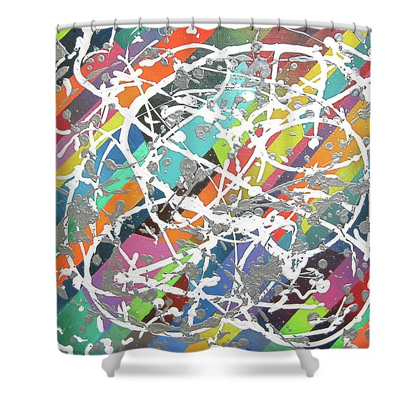 Colorful Disaster Aka Jeremy's Mess Shower Curtain by Jeremy Aiyadurai