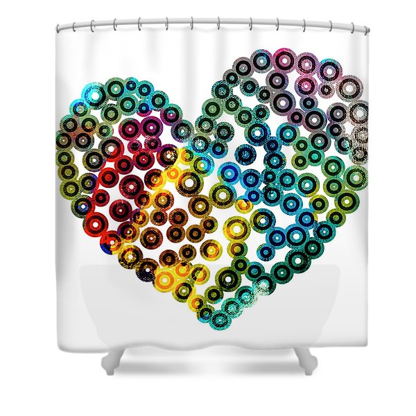 Shower Curtains - Colorful Heart Shower Curtain by Frank Tschakert