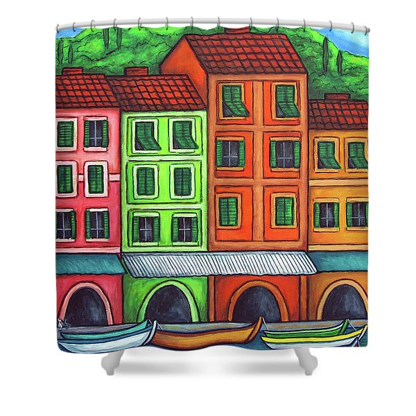 Colours of Liguria Shower Curtain by Lisa  Lorenz