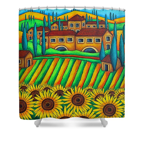 Colours of Tuscany Shower Curtain by Lisa  Lorenz