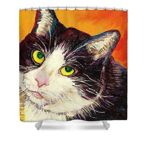 COMMISSION YOUR PETS PORTRAIT BY ARTIST CAROLE SPANDAU BFA ECOLE DES BEAUX ARTS  Shower Curtain by CAROLE SPANDAU