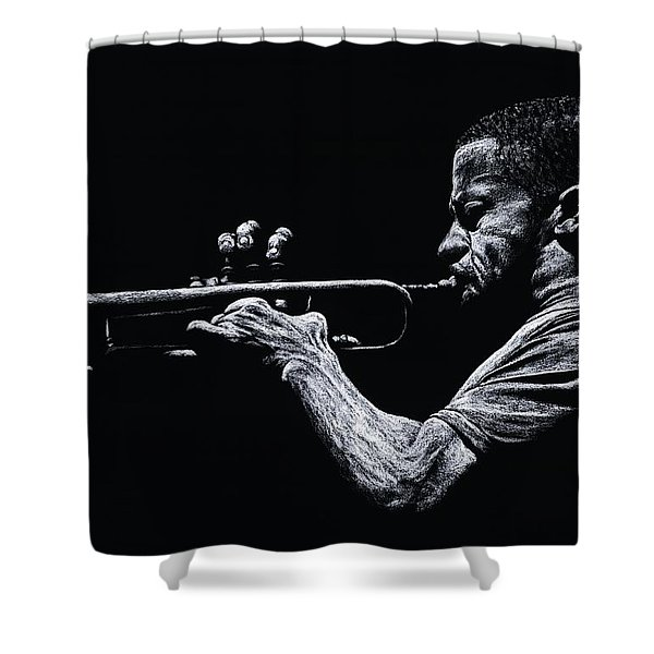 Contemporary Jazz Trumpeter Shower Curtain by Richard Young
