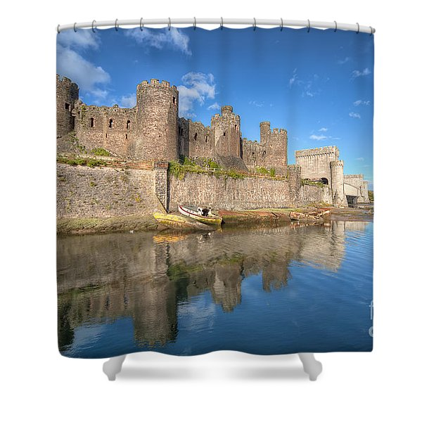 Conwy Castle Shower Curtain by Adrian Evans