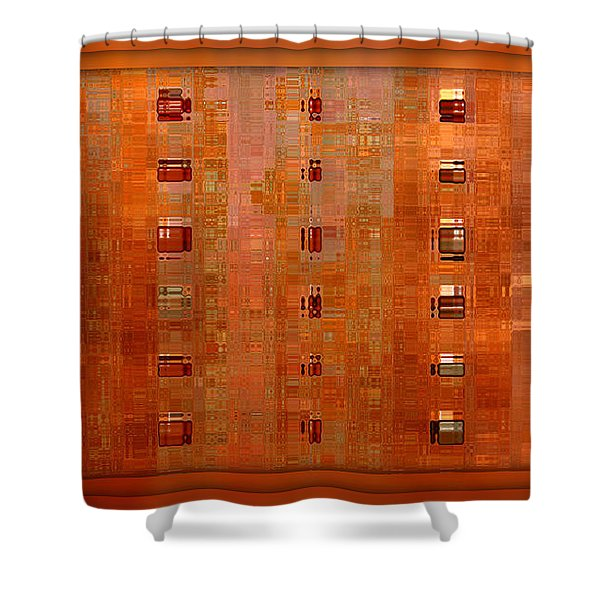 Copper Abstract Shower Curtain by Carol Groenen