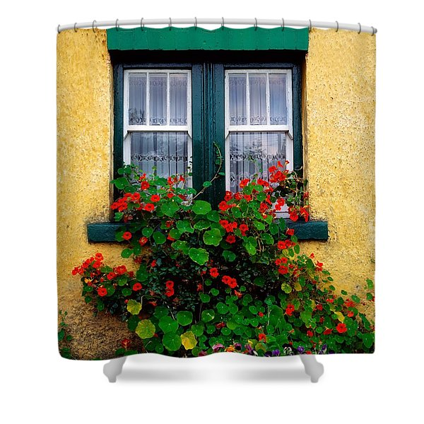 Cottage Window, Co Antrim, Ireland Shower Curtain by The Irish Image Collection