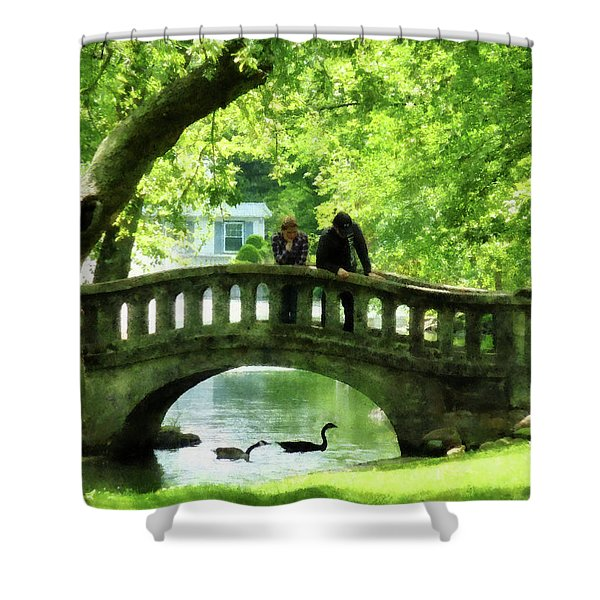 Couple On Bridge In Park Shower Curtain by Susan Savad