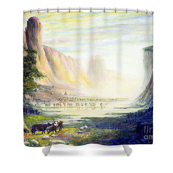 Cows in the Mountain Shower Curtain by Wingsdomain Art and Photography